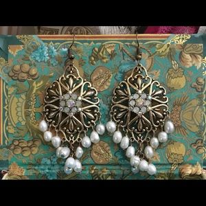 Pearl drop with iridescent gem drop earrings